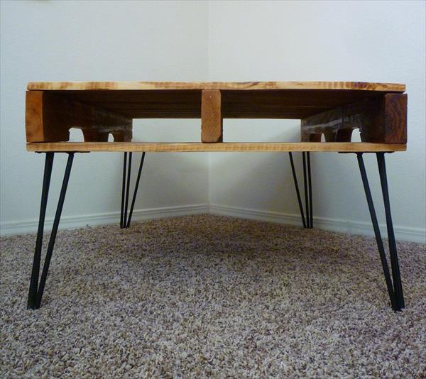 Diy One Coffee Table With 3 Rod Hairpin Legs Pallet Furniture Plans