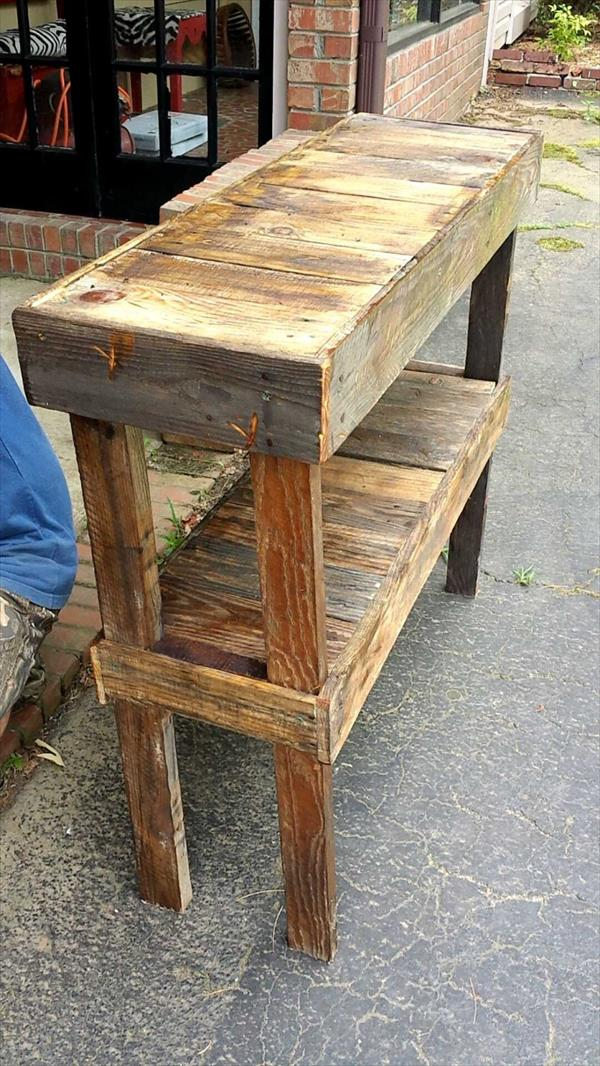 Pallet Foyer Table : Pallet entryway decorative table furniture plans