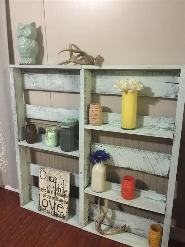 recycled pallet garden decor shelf