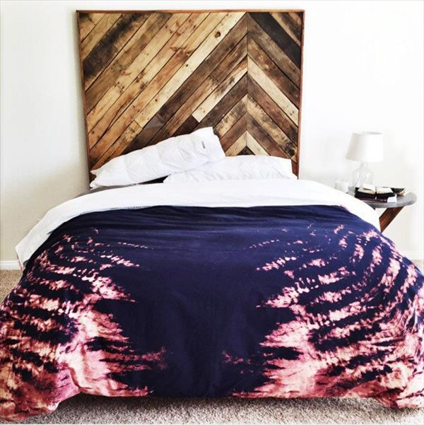 recycled pallet king size chevron headboard