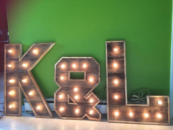 wooden pallet lighted marquee letters