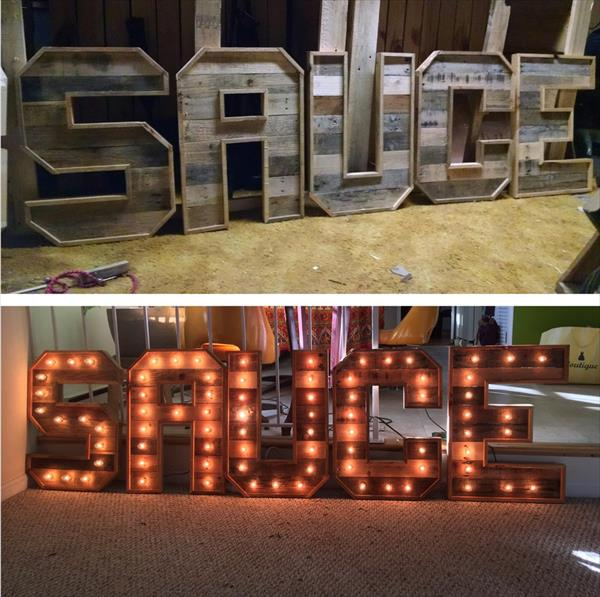 recycled pallet marquee letters