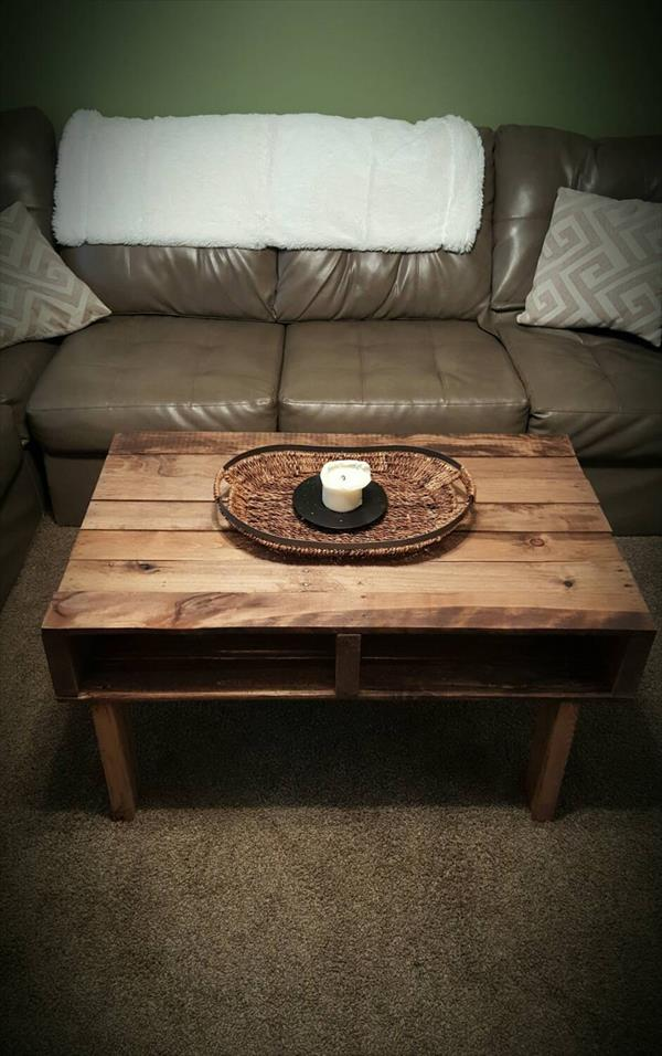 recycled pallet wooden coffee table