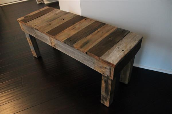 recycled pallet sturdy bench