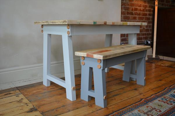 "repurposed pallet ""A"" frame bench"