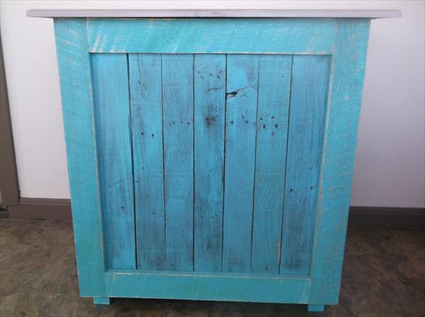 recycled pallet blue painted floor cabinet