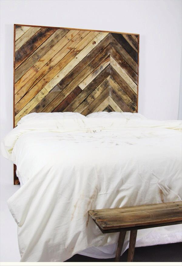 upcycled wooden chevron headboard