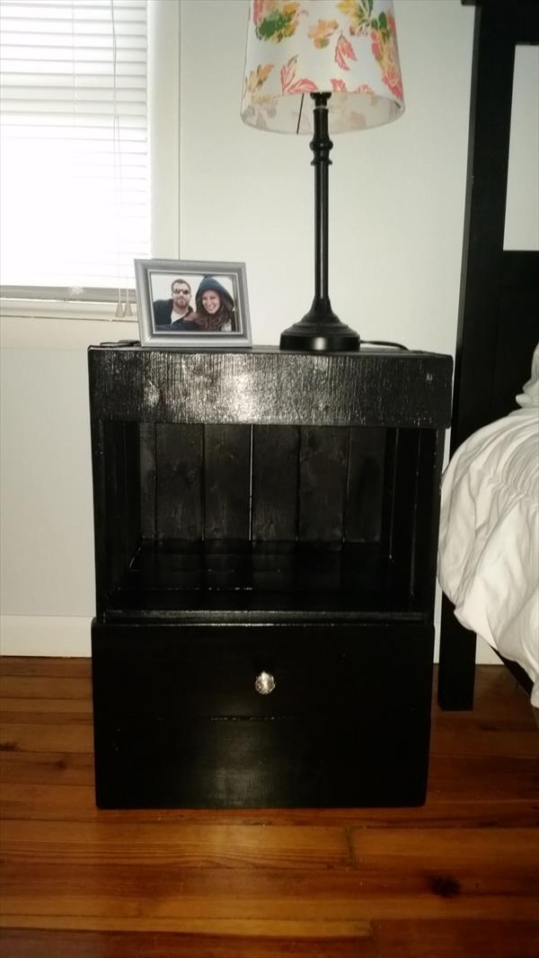 rustic black stained pallet nightstand and end table