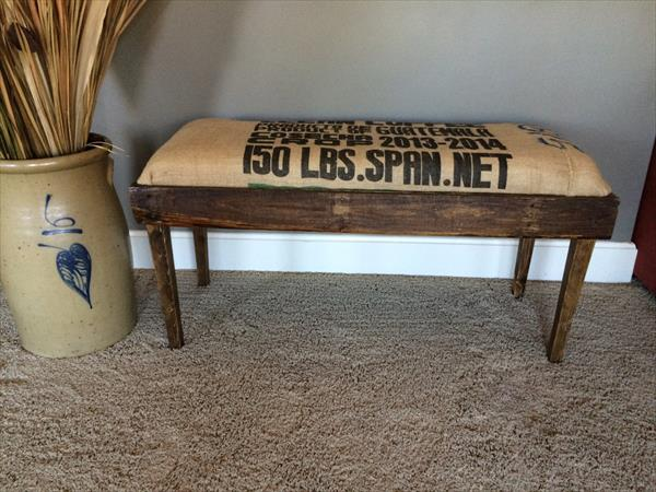 recycled pallet bench with burlap cushion