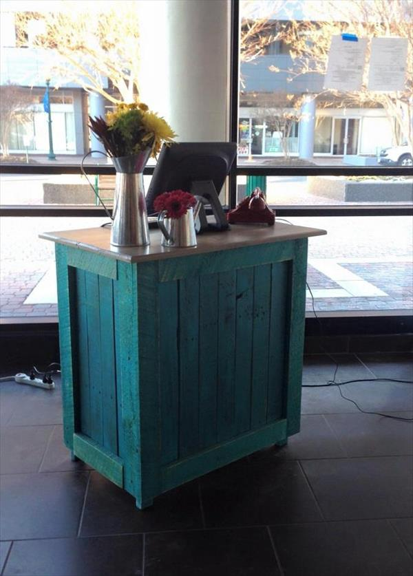 upcycled aqua painted pallet cabinet with shelves and drawers