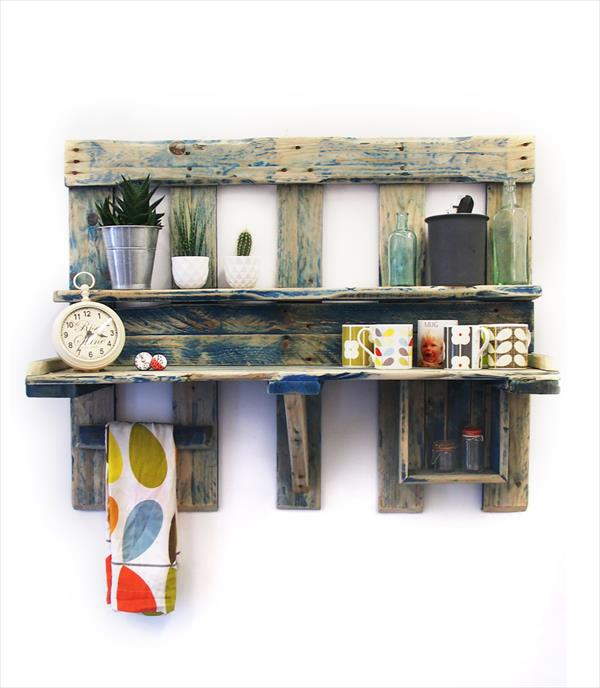 Pallet Kitchen Wall Shelving Unit