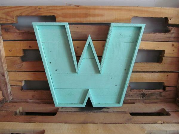 Recycled pallet lettered marquee