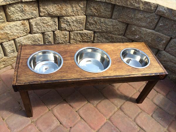handcrafted pallet pet feeder