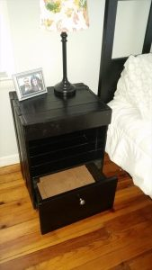 Pallet Black Stained Nightstand / End Table
