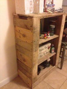 wooden pallet storage and display shelf