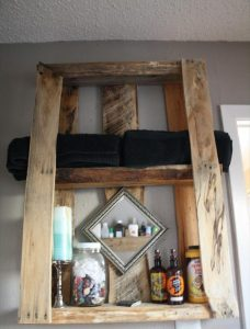 recycled pallet wall shelving unit