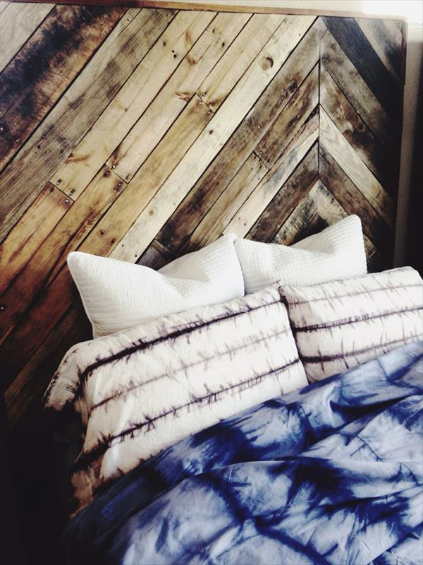 repurposed wooden pallet king size headboard