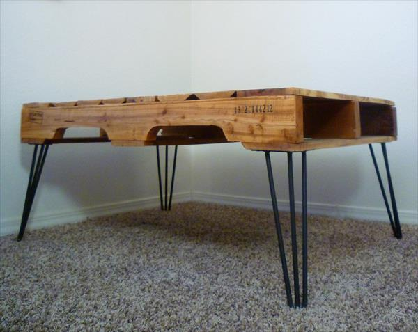 wooden pallet and reclaimed metal coffee table