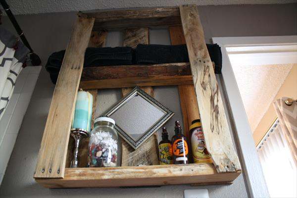 wooden pallet wall shelving unit