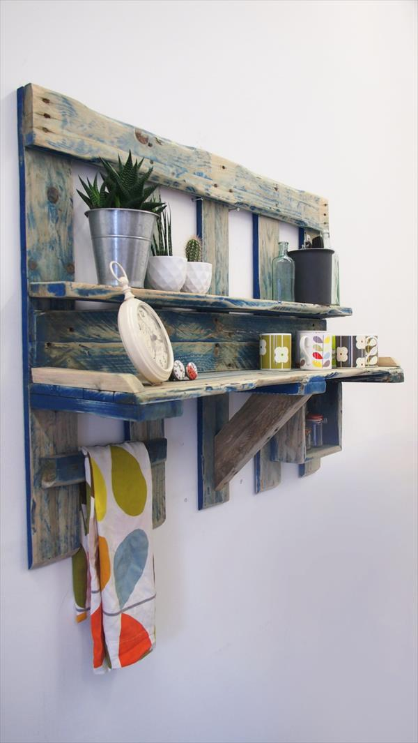 wooden pallet kitchen wall shelving unit