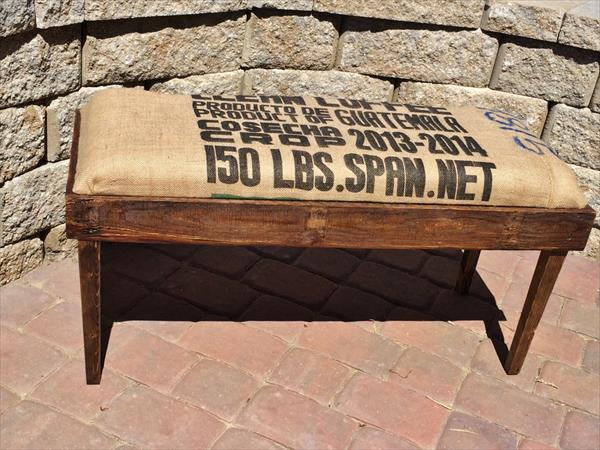 diy pallet bench with coffee sack burlap cushion