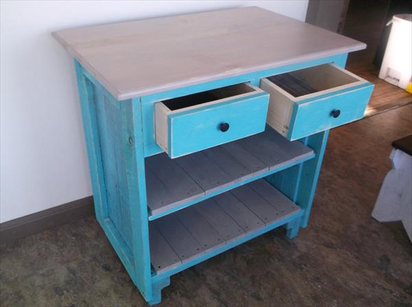 aqua painted pallet cabinet with drawers and shelves