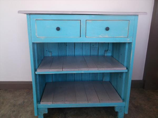 upcycled pallet cabinet with drawers and shelves