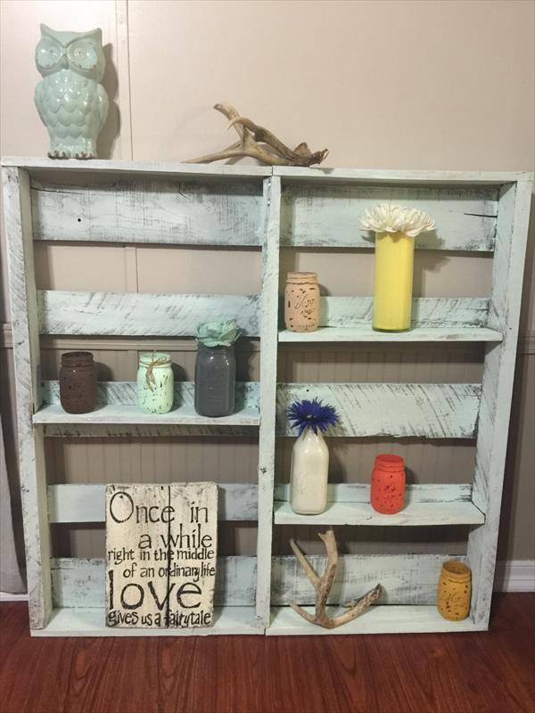 upcycled pallet display shelf