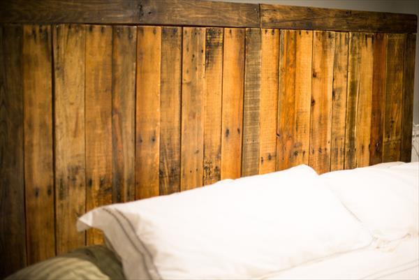 wooden pallet accent headboard