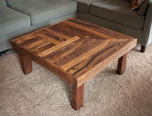 Pallet wooden coffee table design pallet furniture plans for Wood table top designs