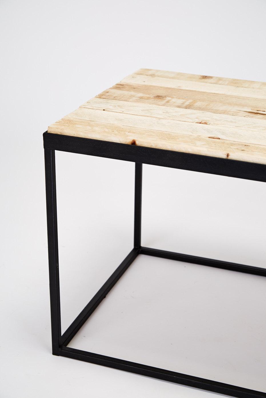 Reclaimed pallet-steel coffee table