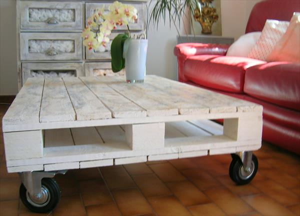Distressed white pallet coffee table pallet furniture plans - Table basse palette blanche ...