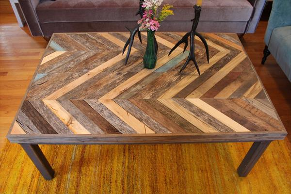 Diy Pallet Chevron Pattern Coffee Table Pallet Furniture