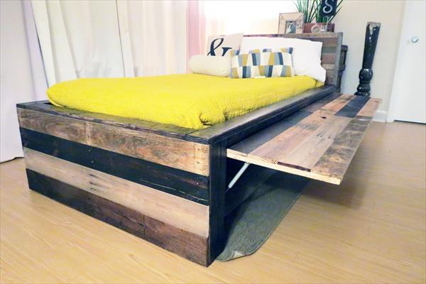 Diy pallet twin bed images galleries for Pallet bed frame with side tables