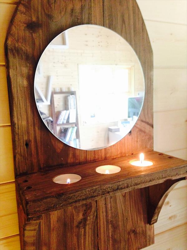 Hand made pallet wall mirror with triple candle holder