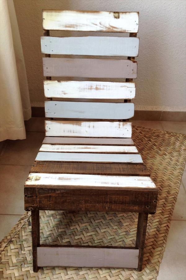 wooden pallet white and gray vintage chair