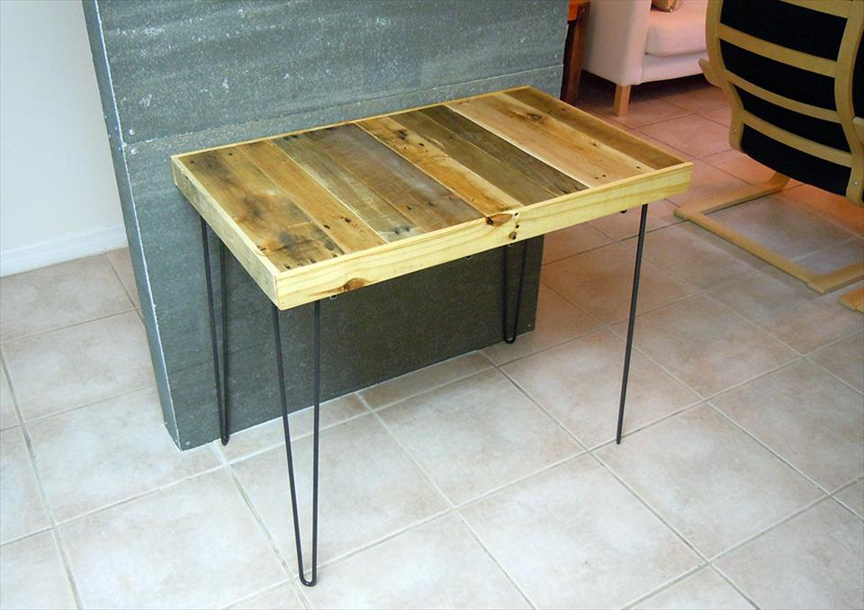 Repurposed pallet breakfast table