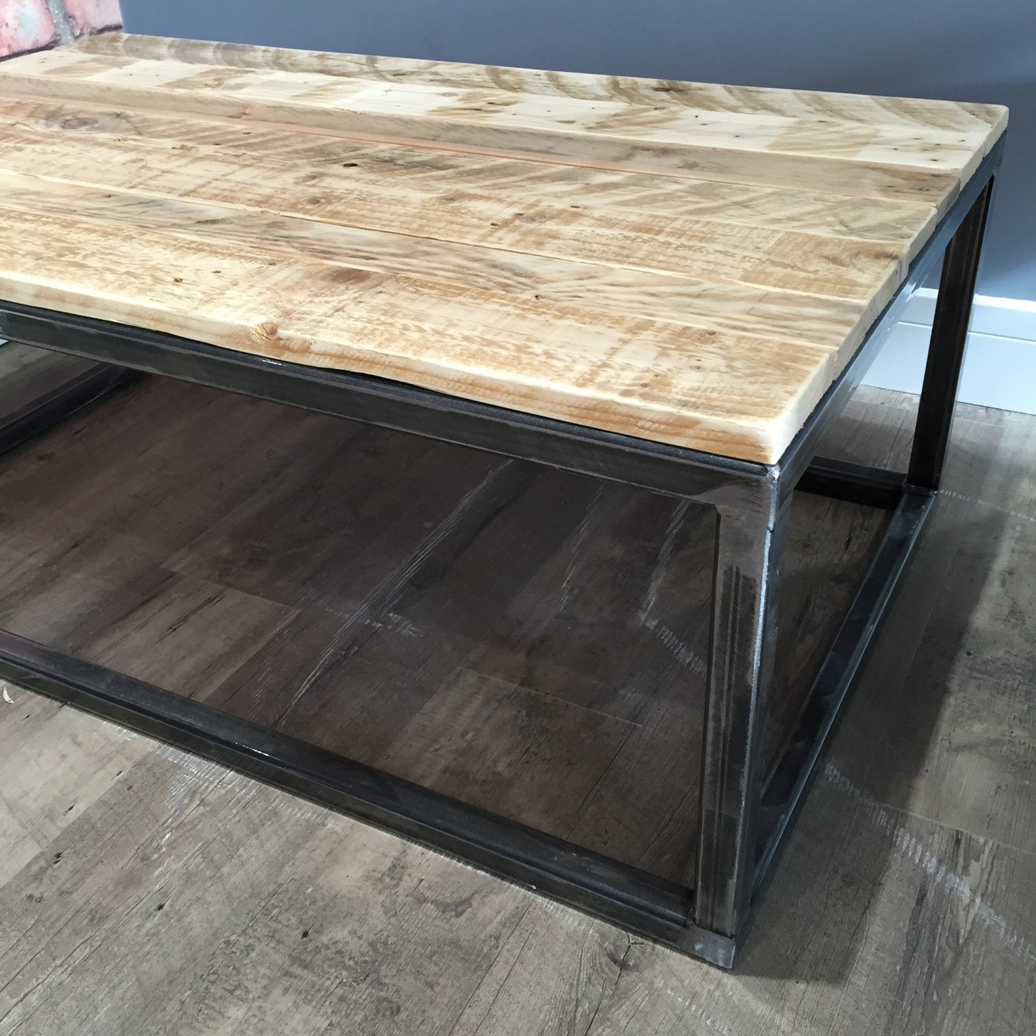 Repurposed pallet industrial coffee table
