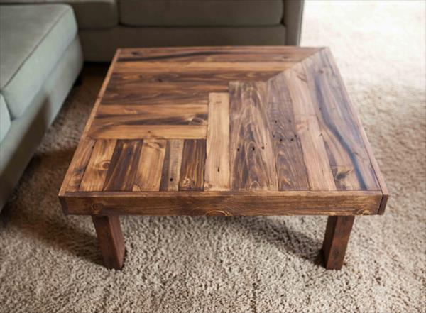 Repurposed pallet wooden coffee table