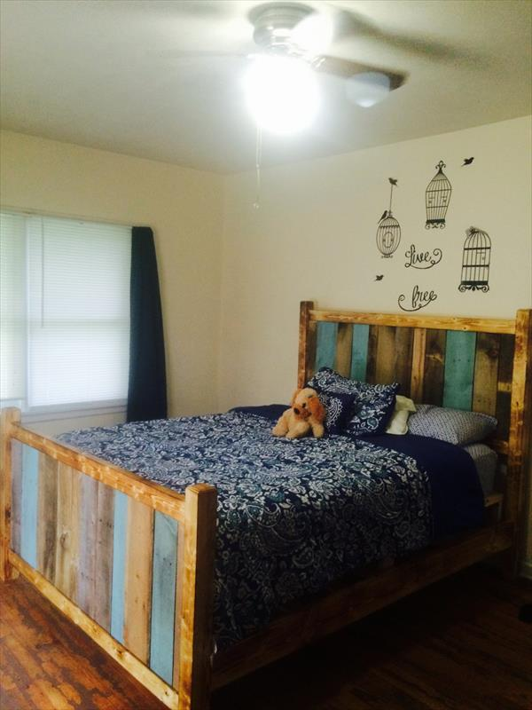 Regained pallet twin bed