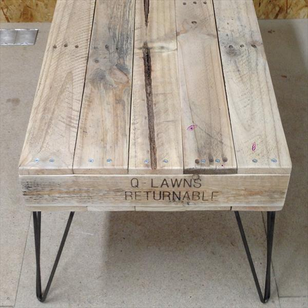 wooden pallet coffee table with metal hairpin legs