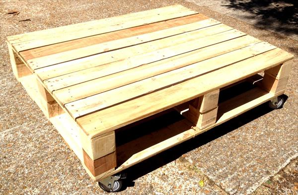 handmade pallet coffee table with storage and wheels