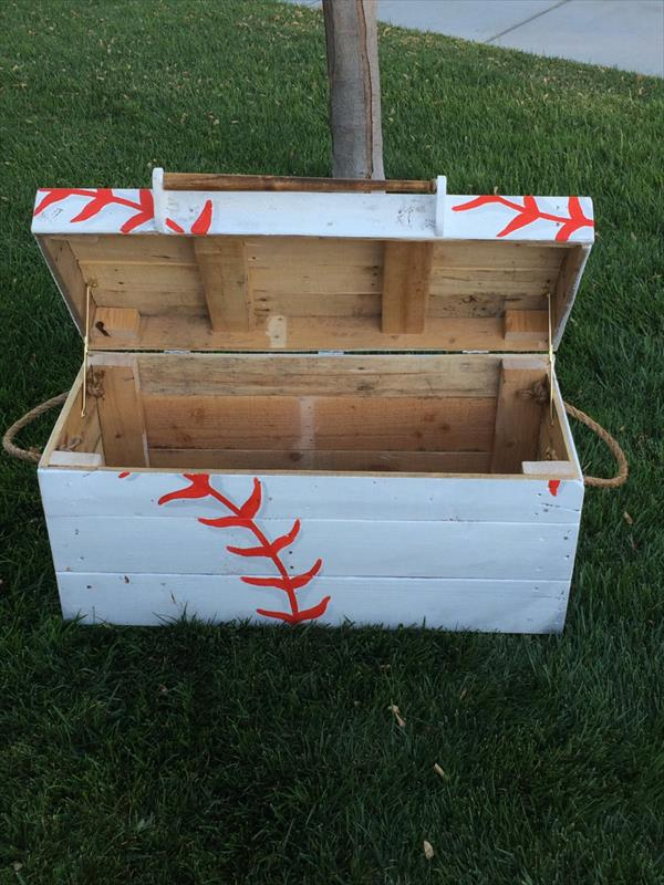 upcycled pallet baseball chest