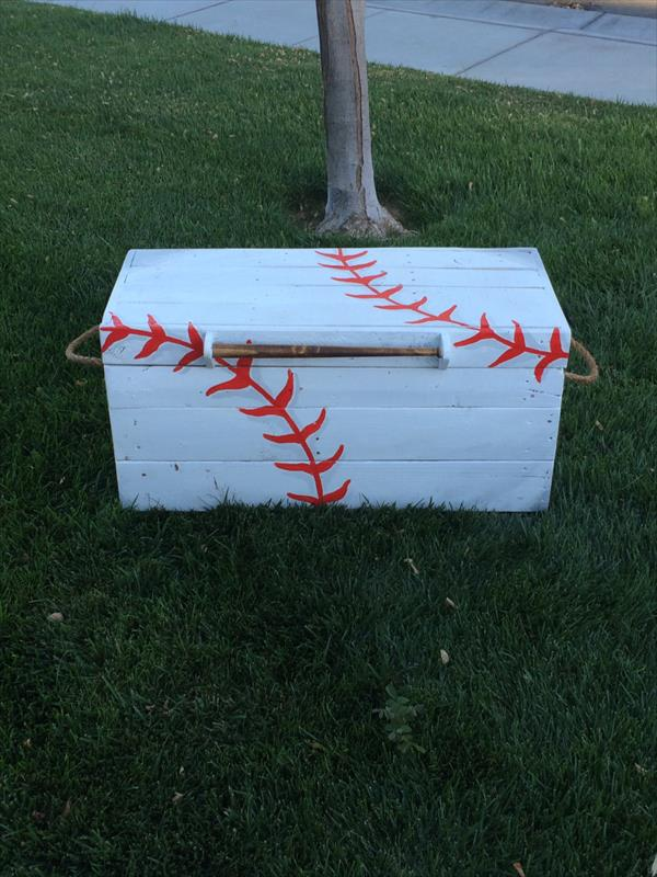 handmade wooden pallet baseball chest