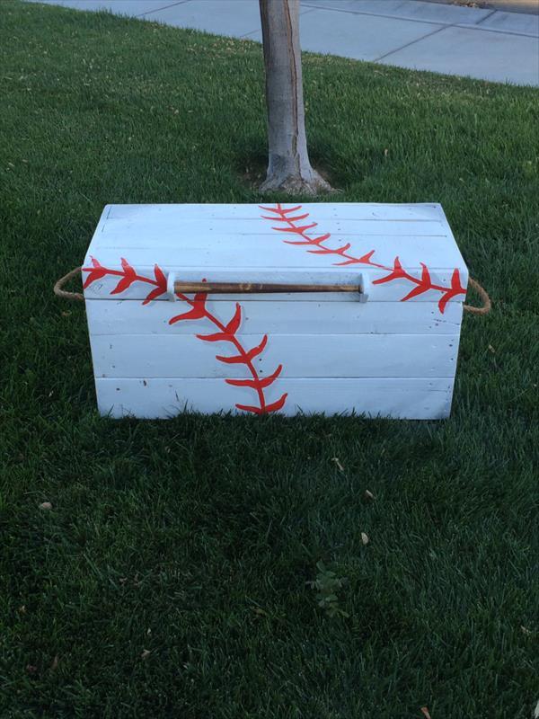 handmade wooden pallet baseball chest