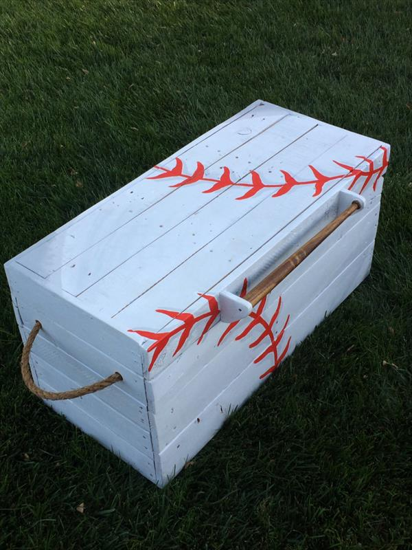 recycled pallet baseball chest