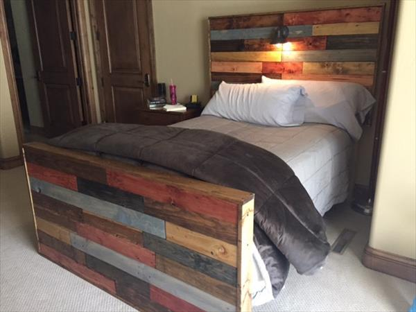 handmade wooden pallet headboard with lights