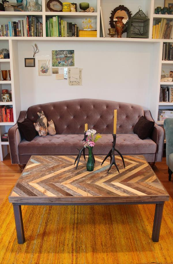 handcrafted pallet chevron coffee table