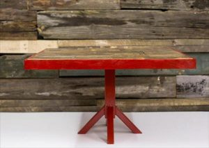 Wood Pallet Coffee Table with Steel Pedestal Base