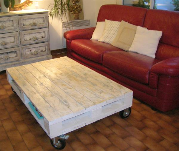 diy rustic white pallet coffee table